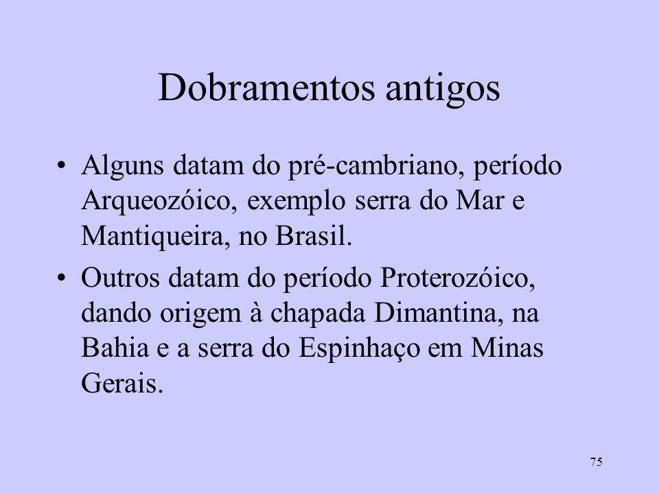 75 Dobramentos antigos Alguns datam do pré-cambriano, período Arqueozóico, exemplo serra do Mar e Mantiqueira, no Brasil.