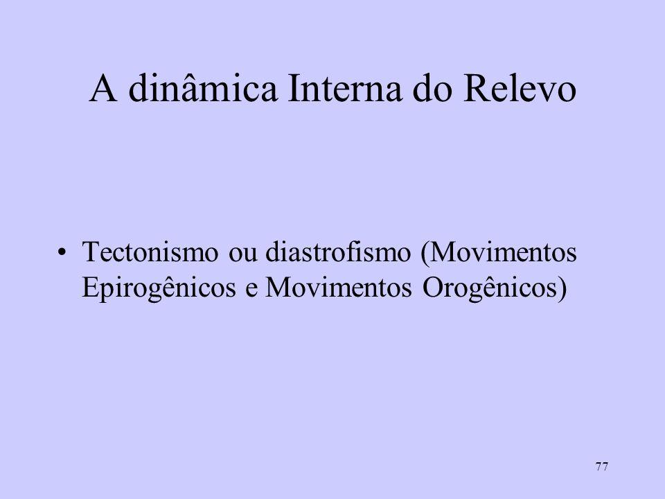 77 A dinâmica Interna do Relevo Tectonismo ou diastrofismo (Movimentos Epirogênicos e Movimentos Orogênicos)