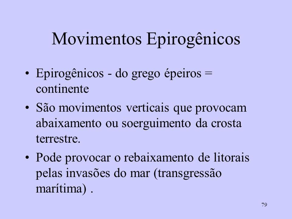 79 Movimentos Epirogênicos Epirogênicos - do grego épeiros = continente São movimentos verticais que provocam abaixamento ou soerguimento da crosta terrestre.