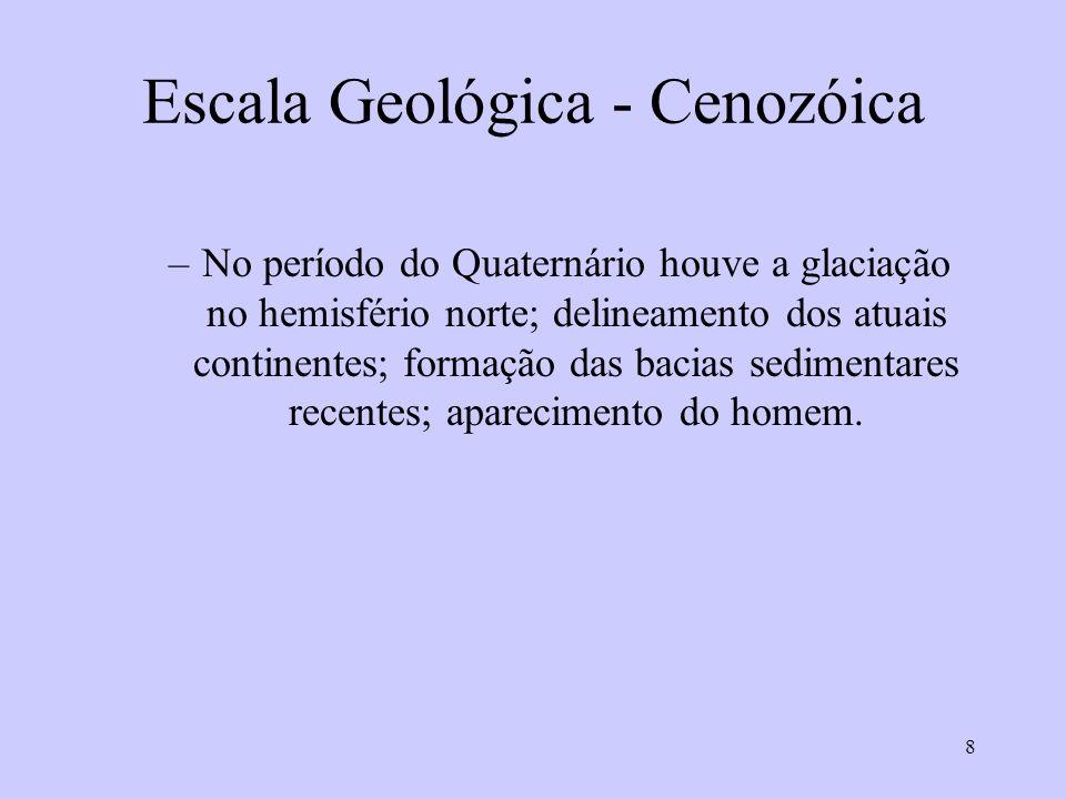 8 Escala Geológica - Cenozóica –No período do Quaternário houve a glaciação no hemisfério norte; delineamento dos atuais continentes; formação das bacias sedimentares recentes; aparecimento do homem.