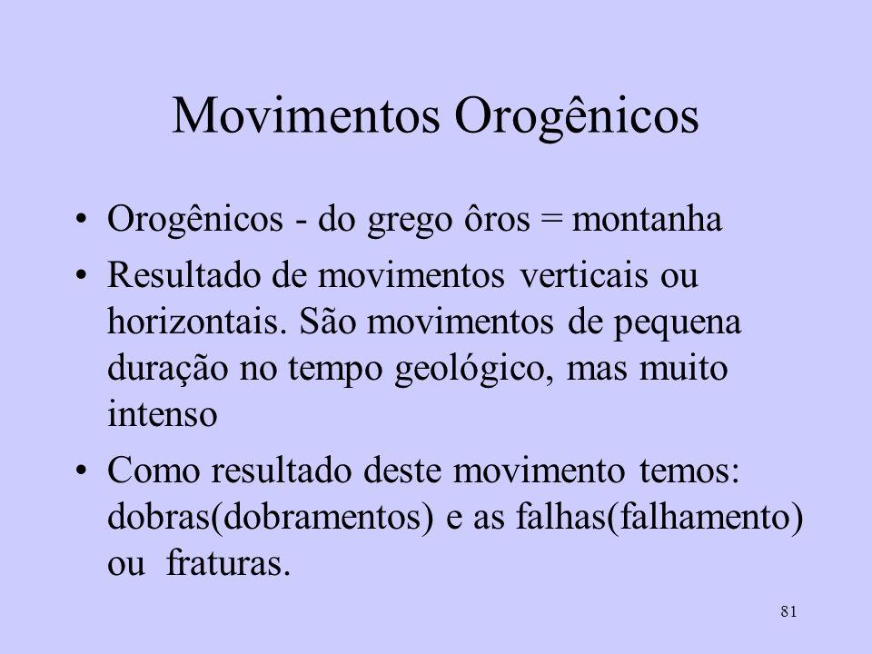 81 Movimentos Orogênicos Orogênicos - do grego ôros = montanha Resultado de movimentos verticais ou horizontais. São movimentos de pequena duração no