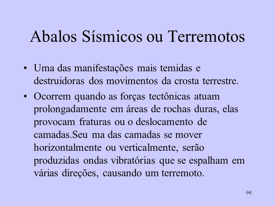 96 Abalos Sísmicos ou Terremotos Uma das manifestações mais temidas e destruidoras dos movimentos da crosta terrestre. Ocorrem quando as forças tectôn