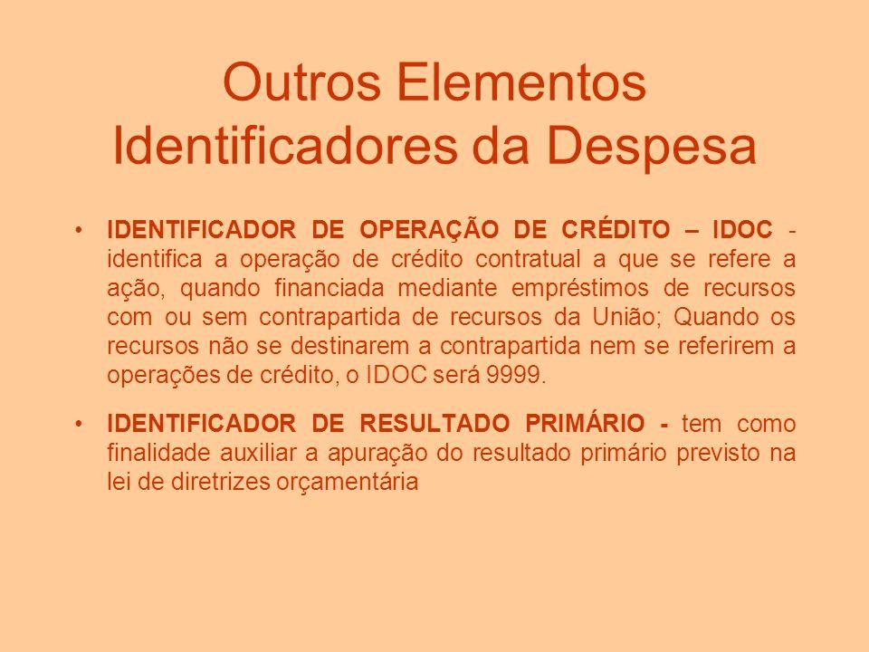 Outros Elementos Identificadores da Despesa ESFERA ORÇAMENTÁRIA - identifica cada tipo de orçamento (10 - Orçamento Fiscal; 20 - Orçamento da Segurida
