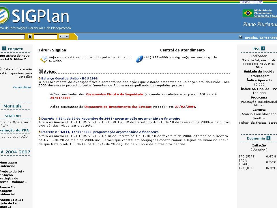Planejamento Federal Compete às unidades responsáveis pelas atividades de planejamento: –I - elaborar e supervisionar a execução de planos e programas