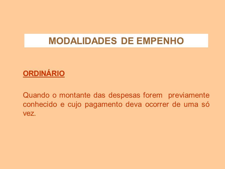 MODALIDADES DE EMPENHO ORDINÁRIO GLOBAL ESTIMATIVA