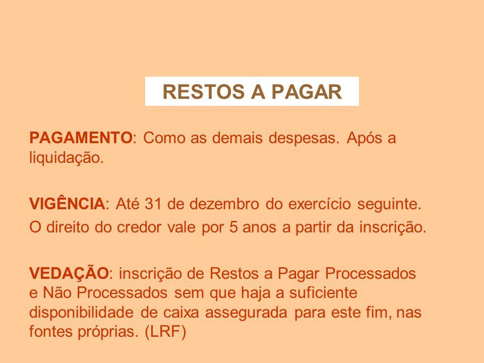 RESTOS A PAGAR INSCRIÇÃO Os Empenhos não liquidados até 31 de dezembro serão cancelados, salvo quando: - vigente o prazo p/ cumprimento da obrigação;