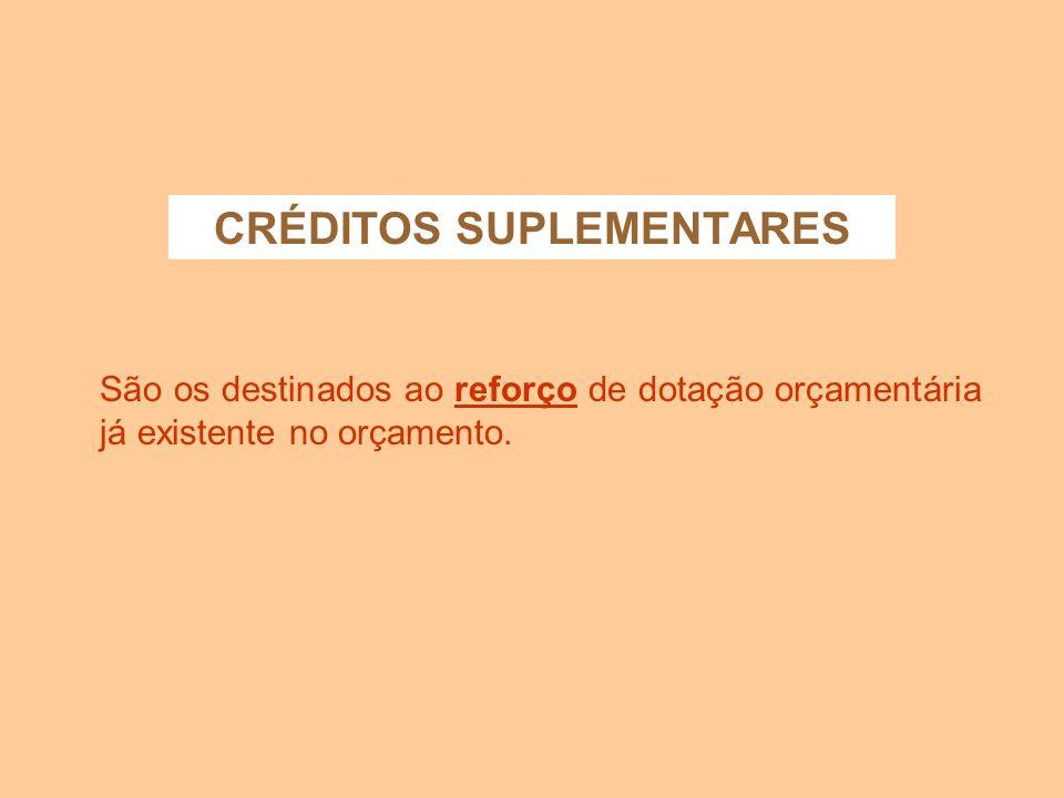 MECANISMOS RETIFICADORES TIPOS DE CRÉDITO ADICIONAL: - SUPLEMENTARES - ESPECIAIS - EXTRAORDINÁRIOS