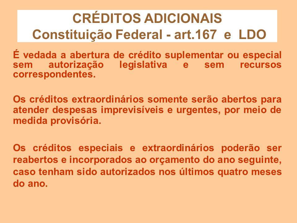 CRÉDITOS ADICIONAIS - Características - Lei 4320/64 - Os créditos suplementares e especiais serão autorizados por lei, abertos por decreto executivo e