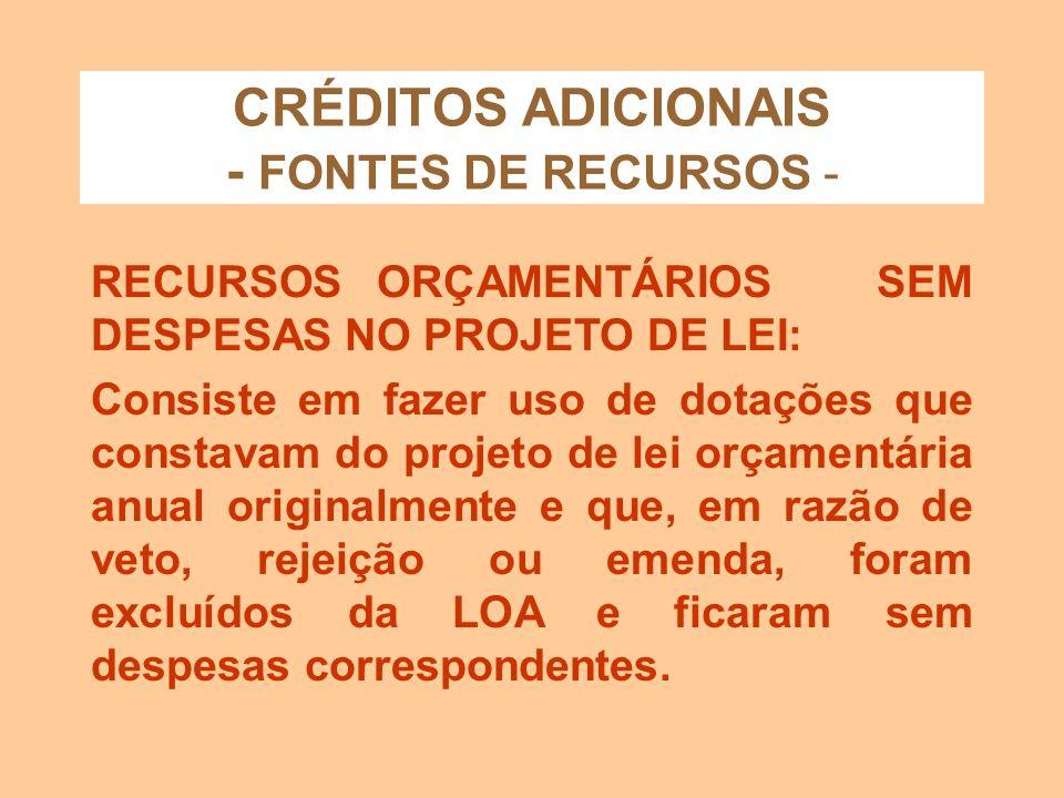 CRÉDITOS ADICIONAIS - FONTES DE RECURSOS - RESERVA DE CONTINGÊNCIA: Funciona como uma dotação destinada a atender contingência Consiste em reduzir uma