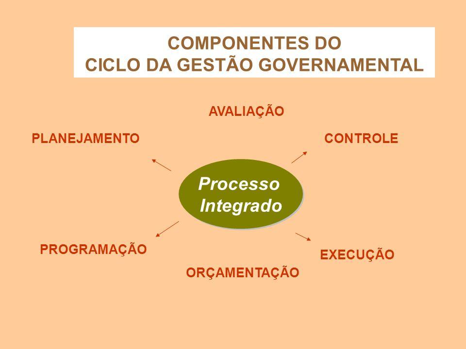 Processo Integrado Processo Integrado PLANEJAMENTO EXECUÇÃO COMPONENTES DO CICLO DA GESTÃO GOVERNAMENTAL ORÇAMENTAÇÃO PROGRAMAÇÃO CONTROLE AVALIAÇÃO