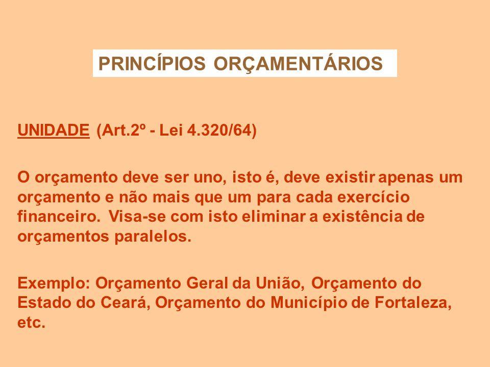 ANUALIDADE (Art. 2º - Lei 4.320/64) Em conformidade com o princípio da anualidade, também denominado princípio da periodicidade, as previsões de recei