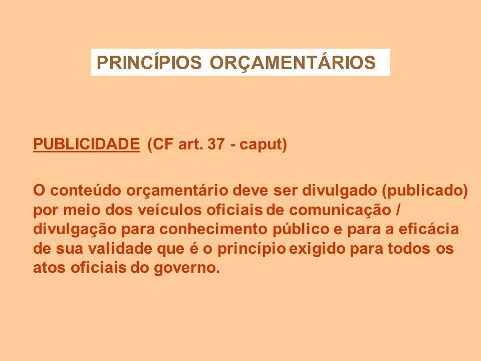 PRINCÍPIOS ORÇAMENTÁRIOS ESPECIFICAÇÃO (art. 5º e § 1º do art.15 - Lei 4.320/64) Veda as autorizações globais. As despesas devem ser classificadas com