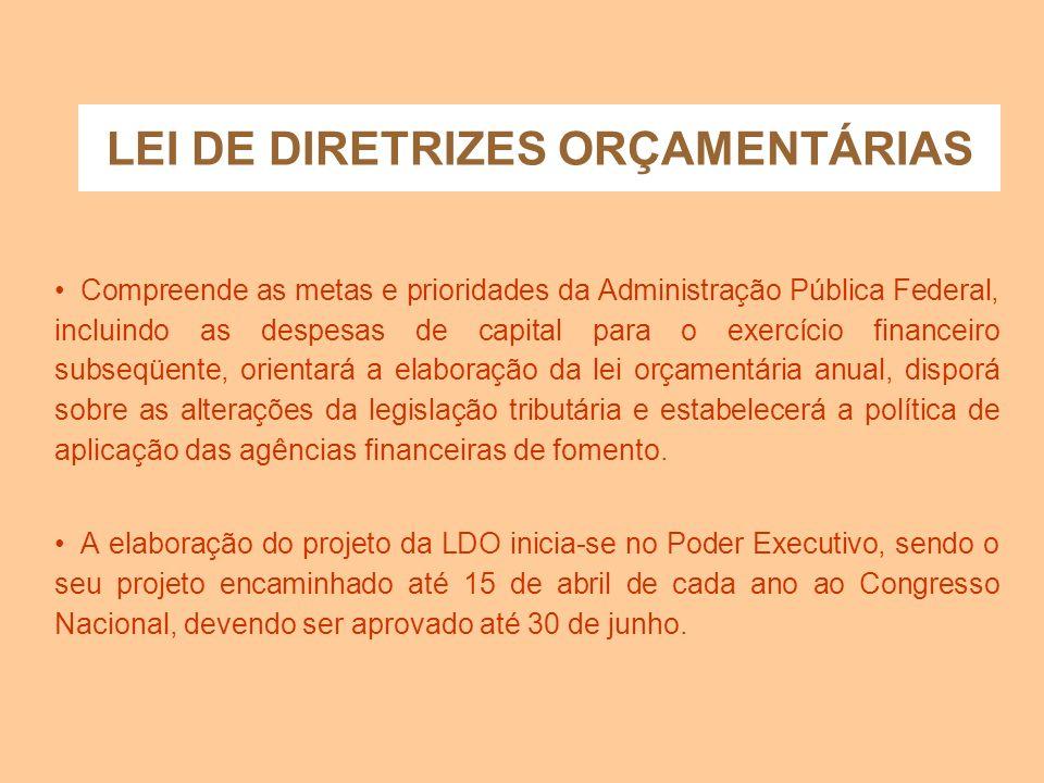 Lei de Diretrizes Orçamentárias - L D O A LDO foi estabelecida pelo parágrafo segundo do art. 165, da Constituição Federal, conforme segue: A lei de d