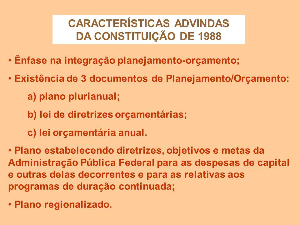 CARACTERÍSTICAS INTRODUZIDAS PELO DECRETO-LEI Nº 200/67 Obrigatoriedade de um orçamento programa-anual; atividade orçamentária organizada sob a forma