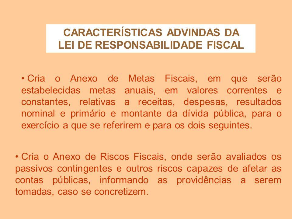 CARACTERÍSTICAS ADVINDAS DA LEI DE RESPONSABILIDADE FISCAL A LDO disporá também sobre: equilíbrio entre receitas e despesas; critérios e forma de limi