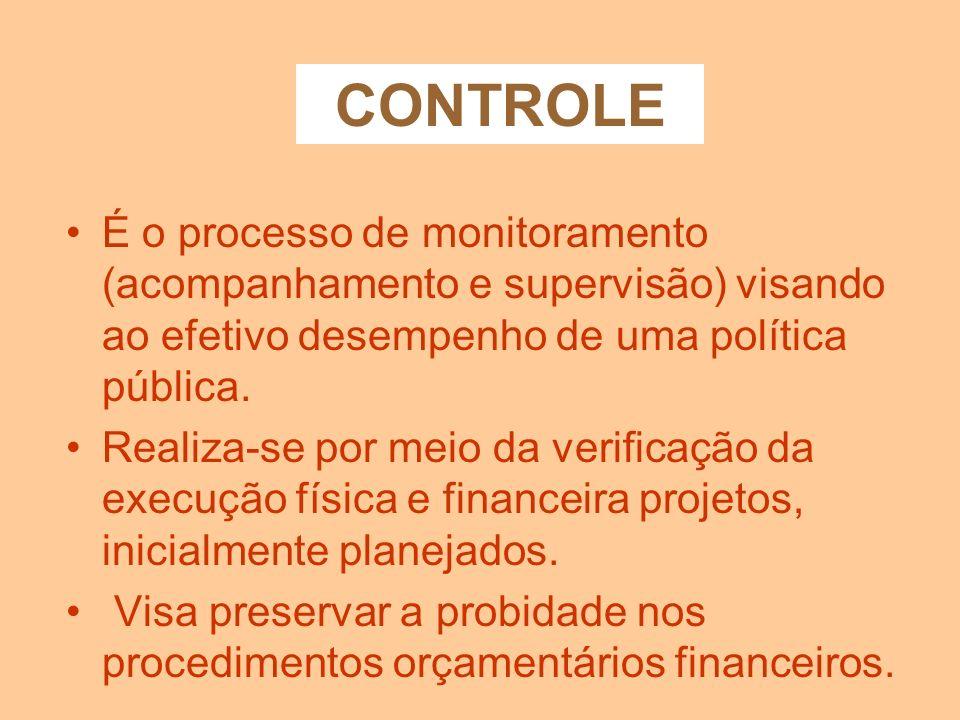 CONTROLE É o processo de monitoramento (acompanhamento e supervisão) visando ao efetivo desempenho de uma política pública.