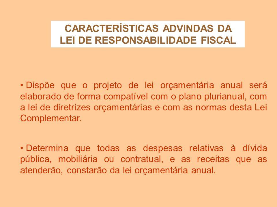 CARACTERÍSTICAS ADVINDAS DA LEI DE RESPONSABILIDADE FISCAL Cria o Anexo de Metas Fiscais, em que serão estabelecidas metas anuais, em valores corrente