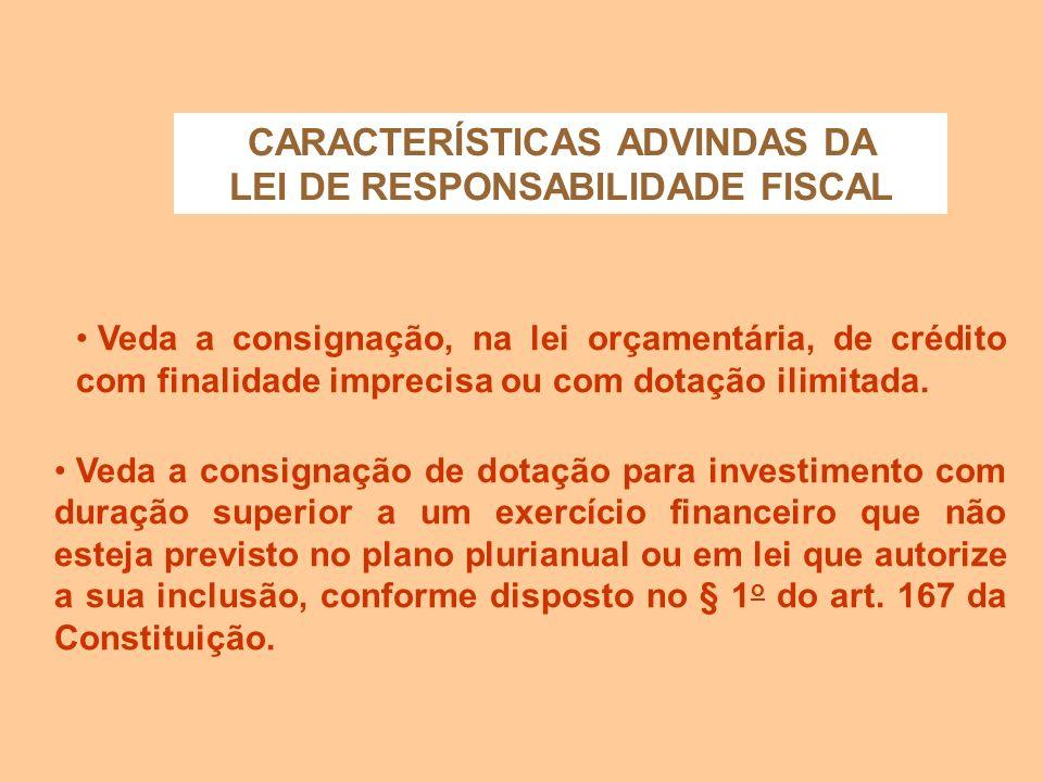 CARACTERÍSTICAS ADVINDAS DA LEI DE RESPONSABILIDADE FISCAL Determina que o refinanciamento da dívida pública constará separadamente na lei orçamentári