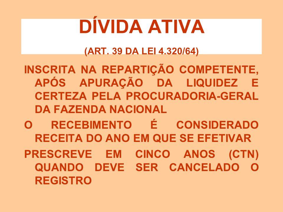 DÍVIDA ATIVA (ART. 39 DA LEI 4.320/64) DÍVIDA ATIVA TRIBUTÁRIA: crédito da fazenda pública proveniente de obrigação legal relativa a tributos e respec