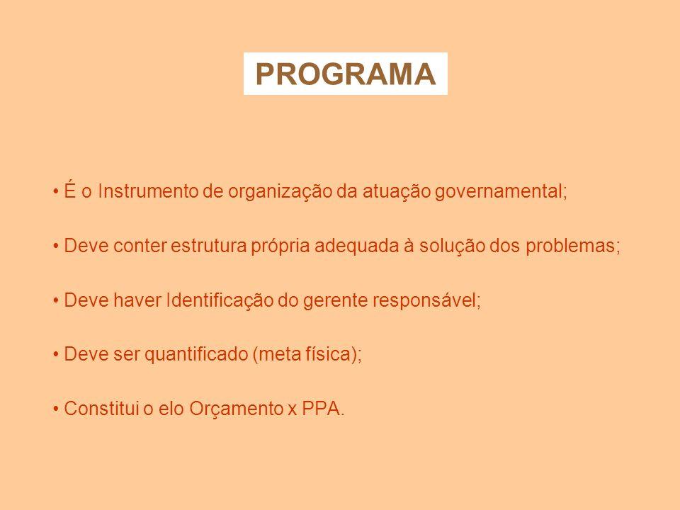 CLASSIFICAÇÃO PROGRAMÁTICA Tem por objetivo conceder ao programa estrutura própria adequada à solução de problemas. PROGRAMÁTICA PROGRAMA AÇÕES PROJET