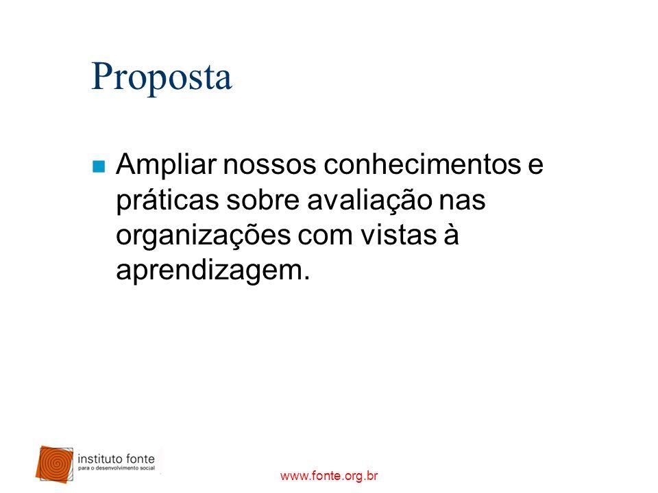 www.fonte.org.br Proposta n Ampliar nossos conhecimentos e práticas sobre avaliação nas organizações com vistas à aprendizagem.