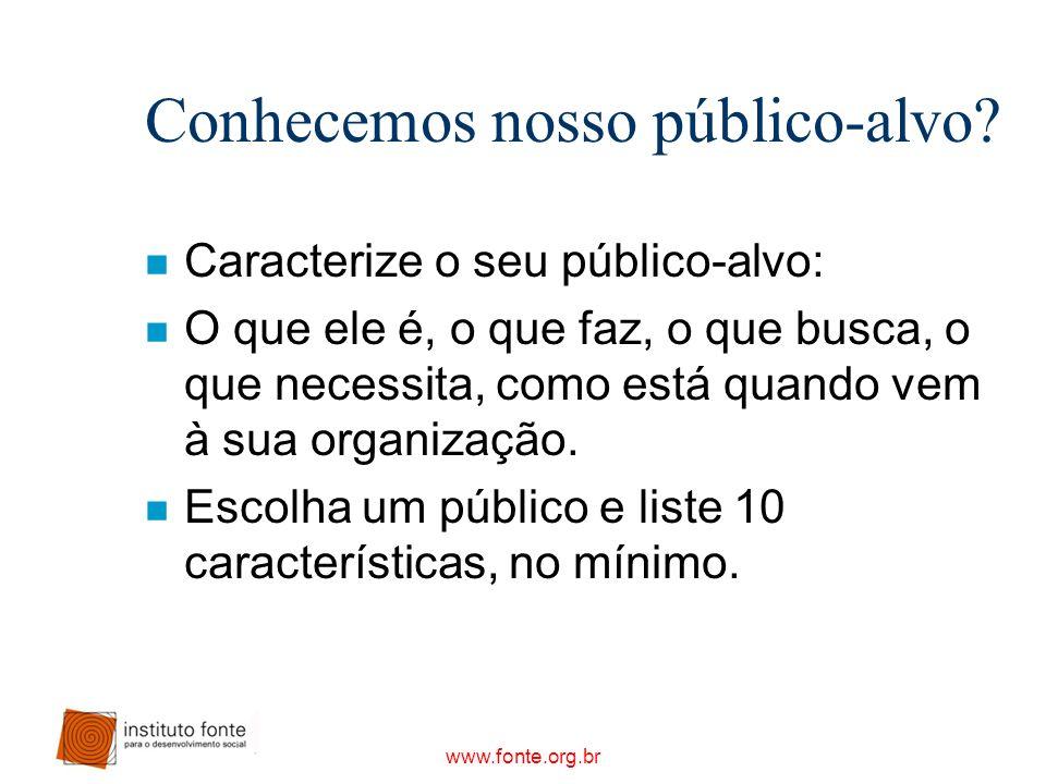 www.fonte.org.br Conhecemos nosso público-alvo? n Caracterize o seu público-alvo: n O que ele é, o que faz, o que busca, o que necessita, como está qu