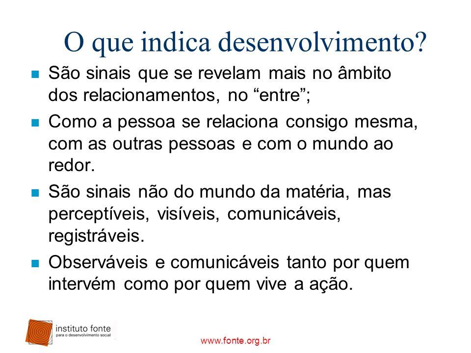www.fonte.org.br O que indica desenvolvimento? n São sinais que se revelam mais no âmbito dos relacionamentos, no entre; n Como a pessoa se relaciona