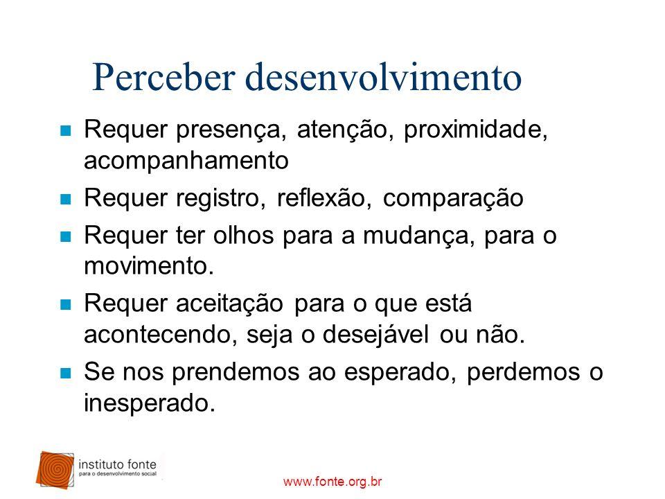 www.fonte.org.br Perceber desenvolvimento n Requer presença, atenção, proximidade, acompanhamento n Requer registro, reflexão, comparação n Requer ter