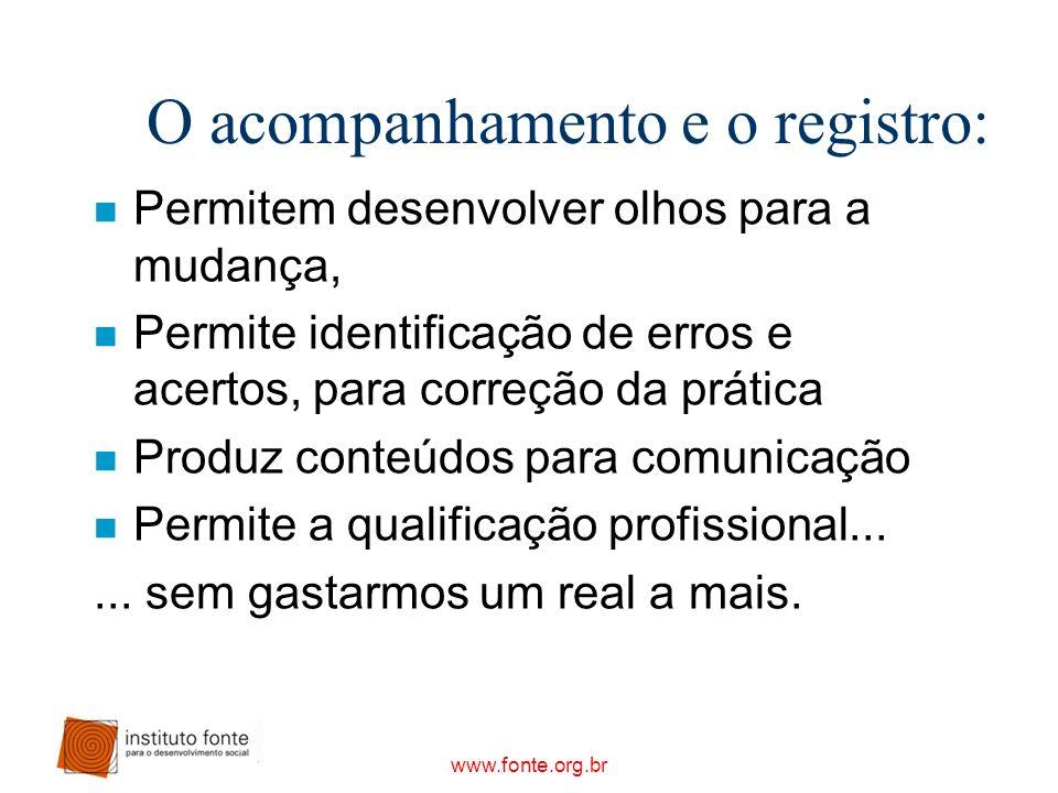 www.fonte.org.br O acompanhamento e o registro: n Permitem desenvolver olhos para a mudança, n Permite identificação de erros e acertos, para correção
