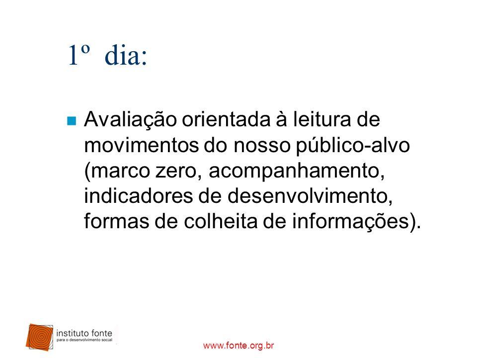 www.fonte.org.br 1º dia: n Avaliação orientada à leitura de movimentos do nosso público-alvo (marco zero, acompanhamento, indicadores de desenvolvimen