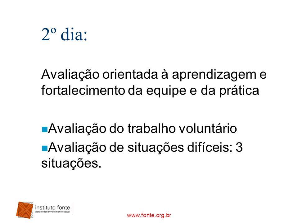www.fonte.org.br 2º dia: Avaliação orientada à aprendizagem e fortalecimento da equipe e da prática n Avaliação do trabalho voluntário n Avaliação de