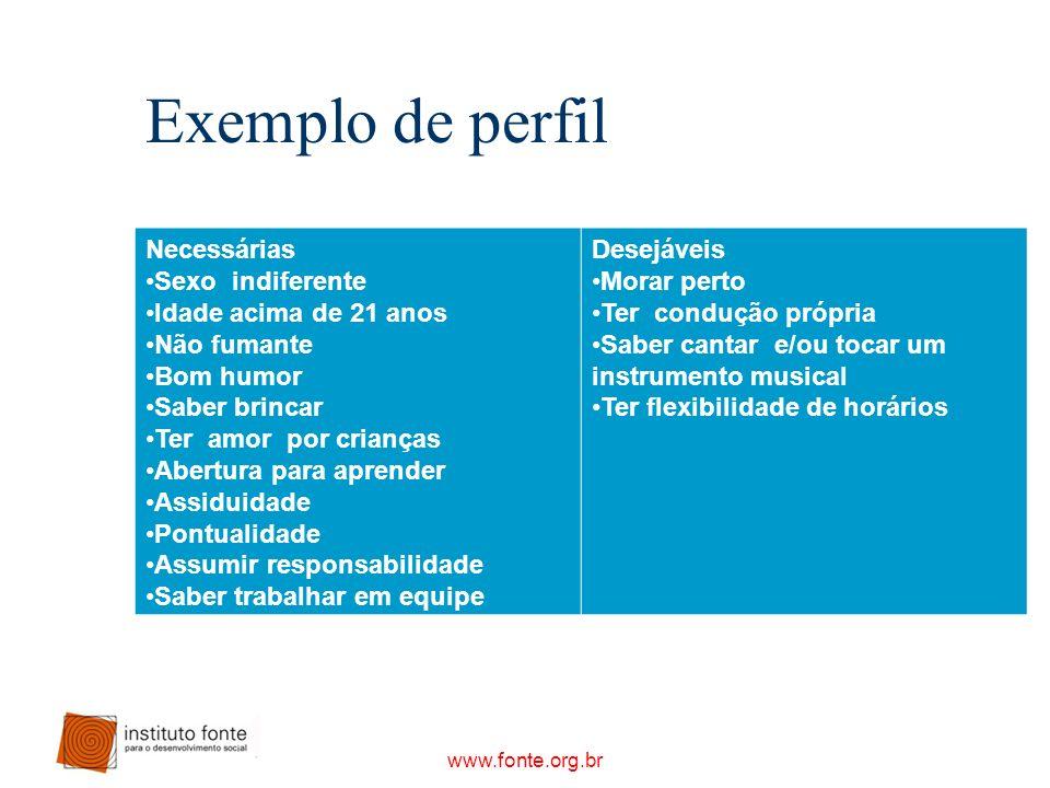 www.fonte.org.br Exemplo de perfil Necessárias Sexo indiferente Idade acima de 21 anos Não fumante Bom humor Saber brincar Ter amor por crianças Abert