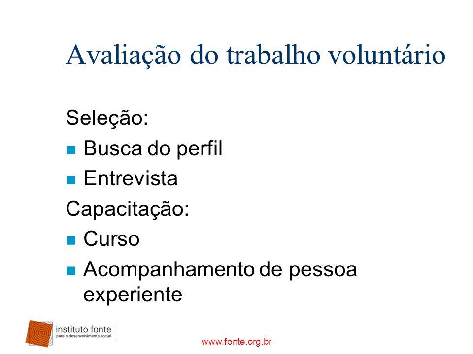 www.fonte.org.br Avaliação do trabalho voluntário Seleção: n Busca do perfil n Entrevista Capacitação: n Curso n Acompanhamento de pessoa experiente