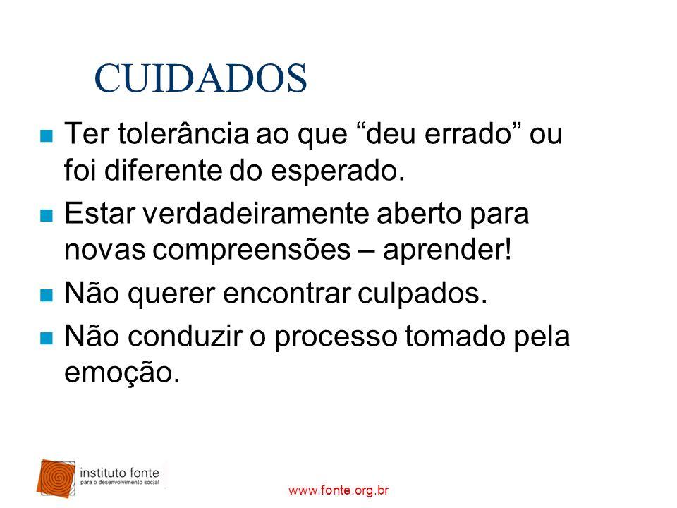 www.fonte.org.br CUIDADOS n Ter tolerância ao que deu errado ou foi diferente do esperado. n Estar verdadeiramente aberto para novas compreensões – ap