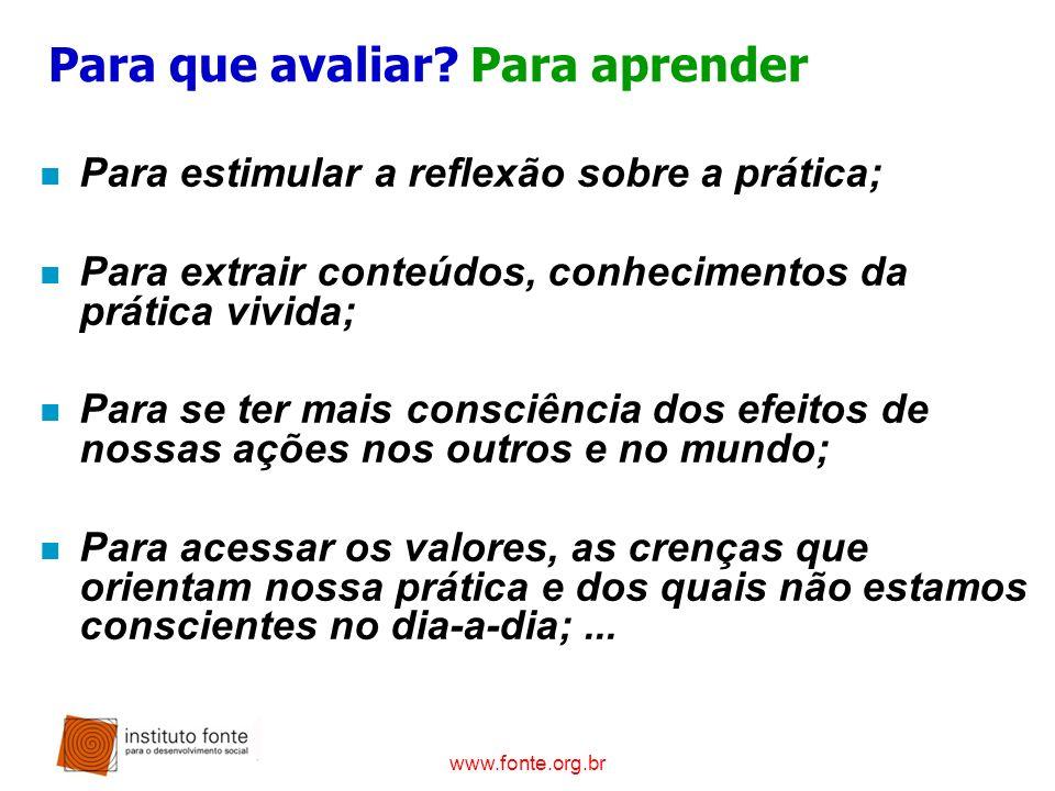 www.fonte.org.br Para que avaliar? Para aprender n Para estimular a reflexão sobre a prática; n Para extrair conteúdos, conhecimentos da prática vivid