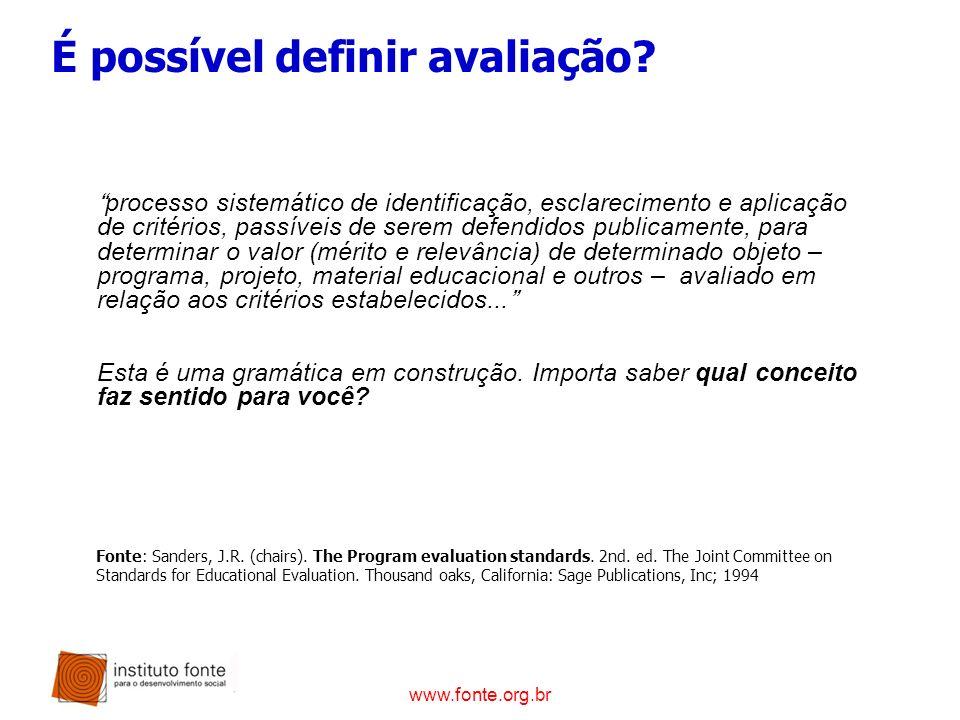 www.fonte.org.br É possível definir avaliação? processo sistemático de identificação, esclarecimento e aplicação de critérios, passíveis de serem defe