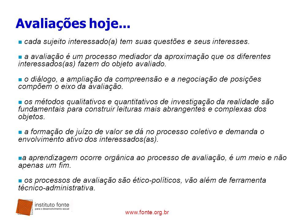 www.fonte.org.br Avaliações hoje... n cada sujeito interessado(a) tem suas questões e seus interesses. n a avaliação é um processo mediador da aproxim