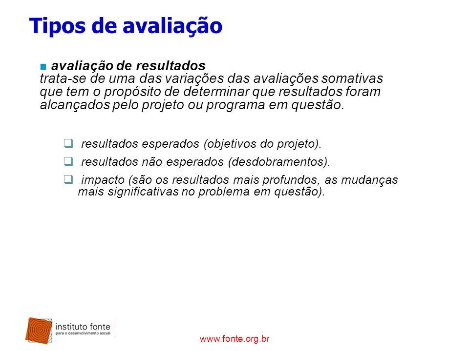 www.fonte.org.br n avaliação de resultados trata-se de uma das variações das avaliações somativas que tem o propósito de determinar que resultados for