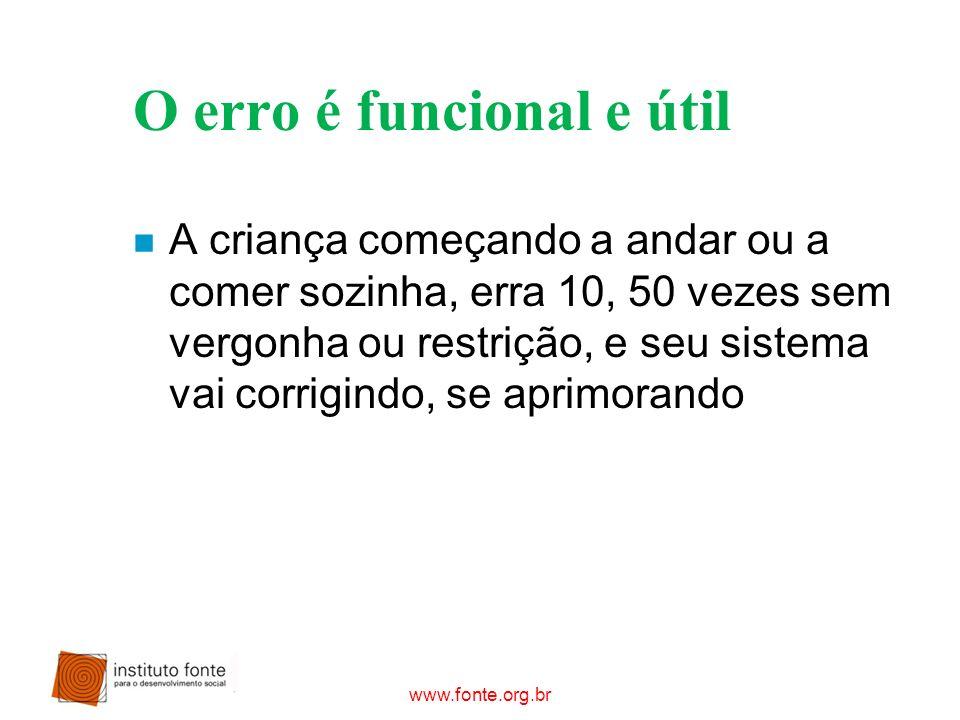 www.fonte.org.br O erro é funcional e útil n A criança começando a andar ou a comer sozinha, erra 10, 50 vezes sem vergonha ou restrição, e seu sistem