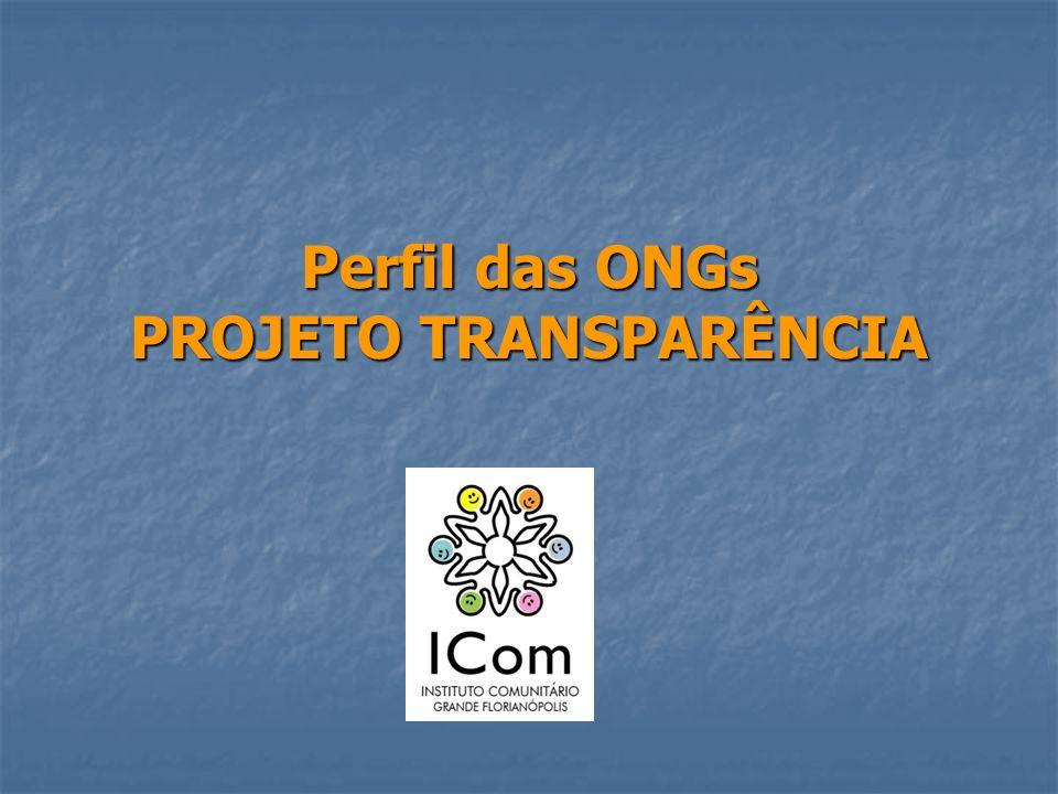 Perfil das ONGs PROJETO TRANSPARÊNCIA