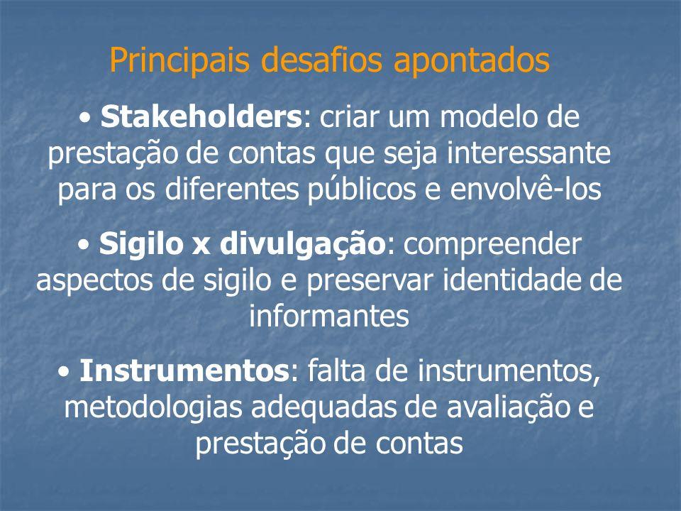 Principais desafios apontados Stakeholders: criar um modelo de prestação de contas que seja interessante para os diferentes públicos e envolvê-los Sig