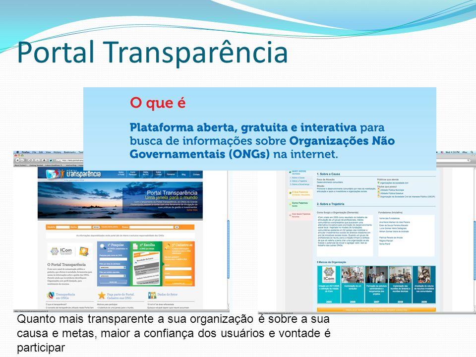 Portal Transparência Quanto mais transparente a sua organização é sobre a sua causa e metas, maior a confiança dos usuários e vontade é participar