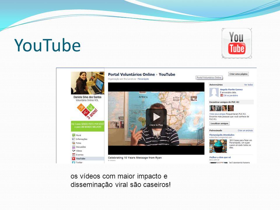 YouTube os vídeos com maior impacto e disseminação viral são caseiros!