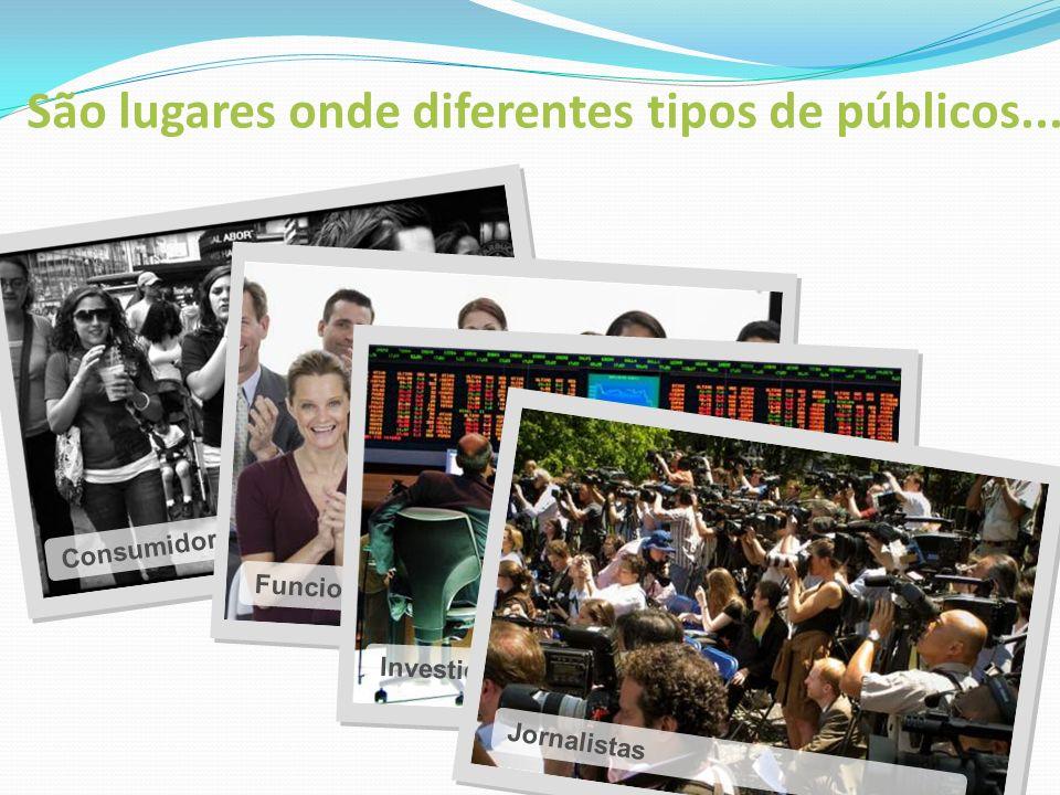Consumidores Funcionários Investidores Jornalistas São lugares onde diferentes tipos de públicos...