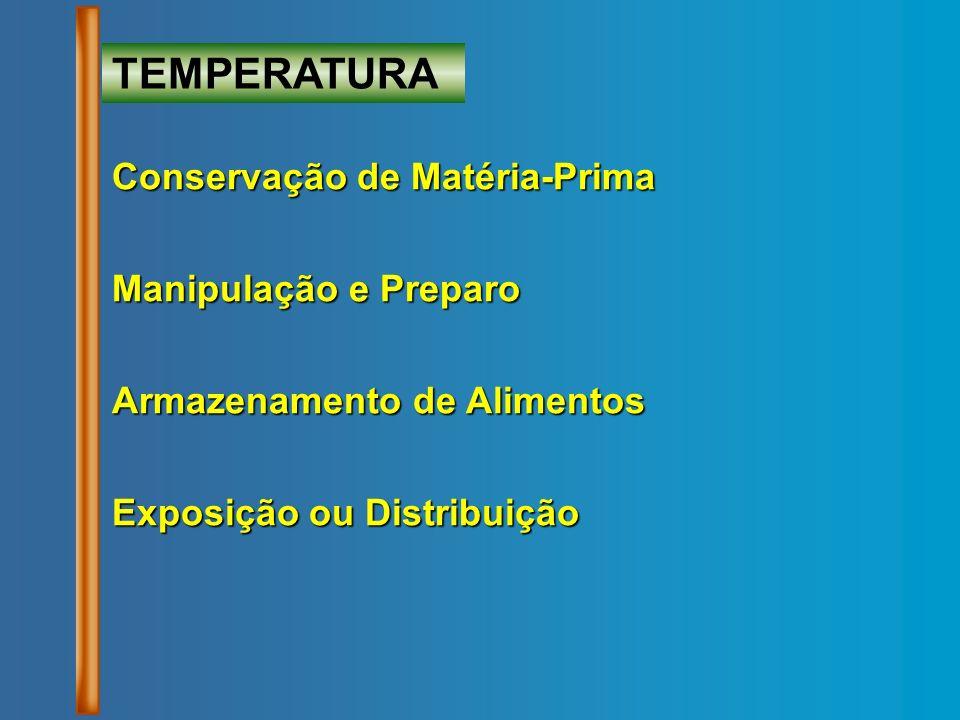 Conservação de Matéria-Prima Manipulação e Preparo Armazenamento de Alimentos Exposição ou Distribuição TEMPERATURA