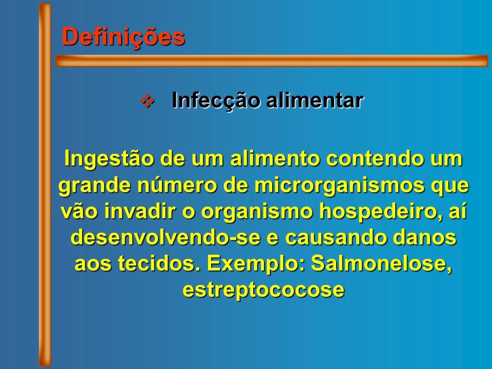 Infecção alimentar Infecção alimentar Definições Ingestão de um alimento contendo um grande número de microrganismos que vão invadir o organismo hospe