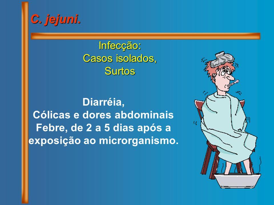 C. jejuni. Infecção: Casos isolados, Surtos Diarréia, Cólicas e dores abdominais Febre, de 2 a 5 dias após a exposição ao microrganismo.