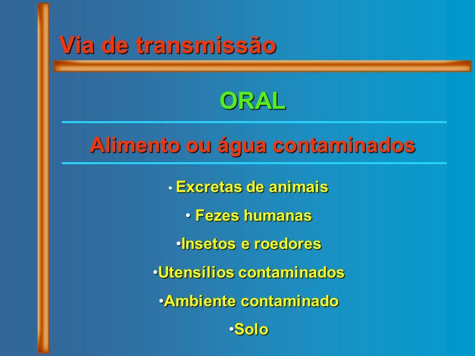 Via de transmissão ORAL Excretas de animais Fezes humanas Fezes humanas Insetos e roedoresInsetos e roedores Utensílios contaminadosUtensílios contami