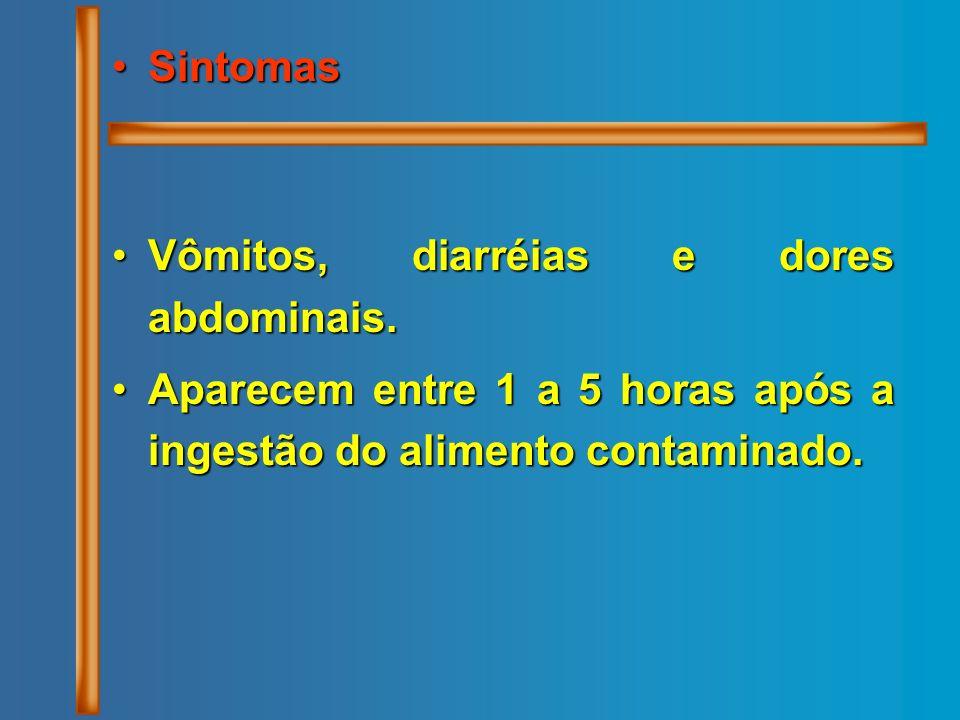 SintomasSintomas Vômitos, diarréias e dores abdominais.Vômitos, diarréias e dores abdominais. Aparecem entre 1 a 5 horas após a ingestão do alimento c