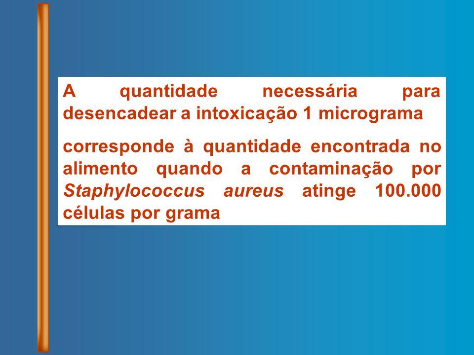 A quantidade necessária para desencadear a intoxicação 1 micrograma corresponde à quantidade encontrada no alimento quando a contaminação por Staphylo